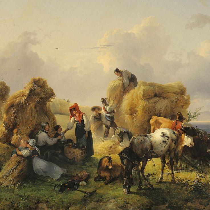 Ernteszene Friedrich Gauermann Österreich 1835 Öl Leinwand